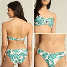 Pimkie Rose Tropical Leaf Print Bikini-Femme Taille 8, pantalon taille 12