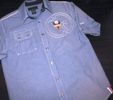 COOGI Women's Shirt Blue Denim Medium Short Sleeve Button Down Embroidered Crest