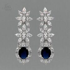 18K White Gold Plated Sapphire Cubic Zirconia Wedding Drop Dangle Earrings 00178