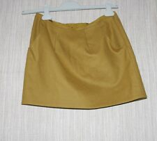 J.CREW WOOL BLEND MUSTARD YELLOW PLEATED POCKETS LINED MINI SKIRT SIZE:4