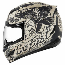 NEW ICON AIRMADA SCRAWL - WHITE MOTORCYCLE HELMET ALL SIZES TATTOO INK L@@k