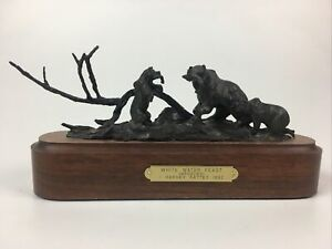 Harvey Rattey White Water Feast Original Bronze Statue Ltd Edition Listed Artist