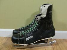 Vintage Bauer NHL Approved Black Ice Hockey Skates Ankle Guards Mens Size 10