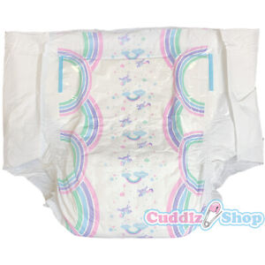 Pack of 2 Cuddlz Rainbow Unicorn Incontinence Adult Nappies Diapers Medium Large