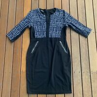 Homeyee Size 12 / 2XL Dress Pencil 3/4 Sleeve Navy Black Cocktail Business
