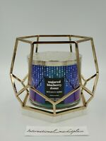 BATH AND BODY WORKS GOLD HEXAGON MARBLE FRAME LARGE 3 WICK CANDLE HOLDER