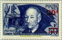 EBS France 1941 Clément Ader surcharged - surchargé YT 493 MNH** cv $135