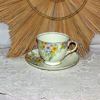 VINTAGE FOLEY FINE BONE CHINA CUP & SAUCER HAND PAINTED ORANGE YELLOW FLOWERS
