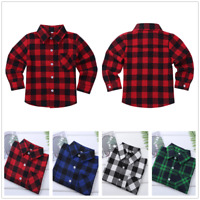 Unisex Kids Check Shirts Long Sleeves Plaid Cotton Formal-Casual Shirt Tops