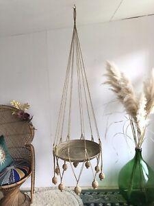 Huge Rare Vintage Hanging Jute String Bamboo Boho Macrame Platter Plate Saucer