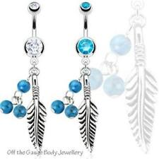 Turquoise Feather Body Piercing Jewellery