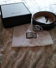 Auténtico Gucci Cinturón de Cuero Negro para Hombre 114984 AA61N 525040 9b8414c2ef8