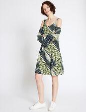 BNWT M&S Limited Edition Blue Green Cold Shoulder Floral Skater Dress Size 10