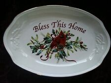 "Lenox Winter Greetings Sentiment Bowl/Tray - "" Bless This House "" - Free Ship"