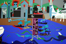 Romare Bearden The Fall of Troy 1979 Art Serigraph Signed Original