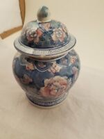Ornate Flower Design Cookie Jar, Pottery Jar