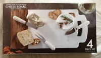 Marble and Wood Cheese Board Set With 3 Coordinating Utensils Serving Tray New