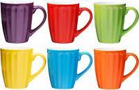 Bruntmor Ceramic Coffee Cups Mugs Set of 6 Large-sized 16 Ounce Grooved Tea Mugs