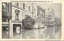 Business District Under Water in Wheeling WV Postcard