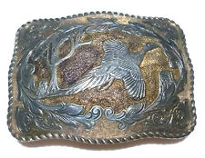 "3"" EDDIE BAUER HEAVY 22K GOLD ON STERLING SILVER SOUTHWESTERN BIRD BELT BUCKLE"