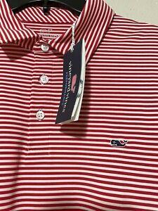 Vineyard Vines Men's Performance Golf Polo Shirt Red Stripe Sz XXL