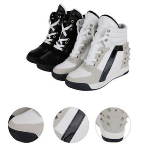 Women's Trainers Rivets Hidden Wedge Heel Casual High Top Shoes Lace Up Sneakers