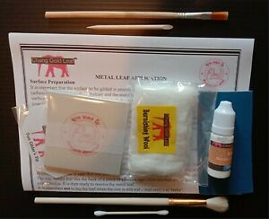 Silver Leaf Kit 100 24K Silver Colour Sheets 10ml Adhesive and Brush Gilding Art