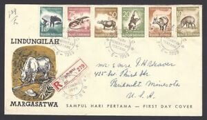 Indonesia 1959 Animals 6v registered FDC to USA