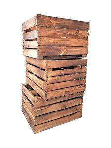 Geflammte Holzkisten Obstkisten Weinkisten Apfelkisten Used 50 x 40 x 30 cm SETs