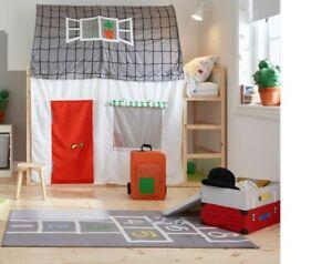 Baldachin für IKEA-Kinderbett KURA - Motiv: Haus mit roter Tür