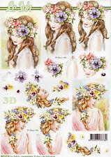 3D Stanzbogen Motivbogen Etappenbogen Grußkarte Scrapbooking Blumenmädchen (246)