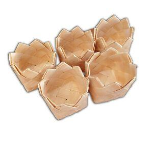 Wooden Baskets, Set of 5, Woven Pine Hand-made