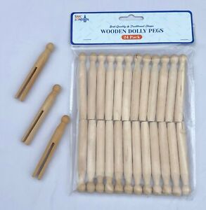 24 TRADITIONAL HIGH QUALITY NATURAL WOODEN DOLLY PEGS CLOTHES WASHING LINE