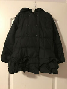 Gymboree Girls M 7-8y Black Ruffled Puffer Coat Jacket EEUC Worn 1x