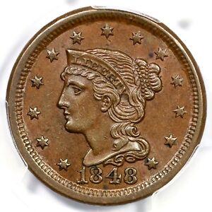 1848 N-2 R-2 PCGS MS 62 BN Braided Hair Large Cent Coin 1c