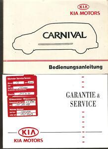 deutsche Betriebsanleitung carnival KIA MOTORS   Handbuch Ausgabe 2002(2 Hefte )