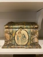 Antique Dresser Box Ornate Vanity Brush & Mirror Set Ornate AS IS