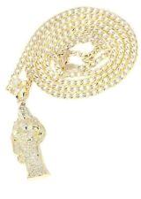 10K Yellow Gold Pave Cuban Chain & Cz Jesus Piece Chain | Appx. 9.8 Grams