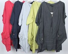 LADIES V NECK ITALIAN QUIRKY LAGENLOOK PLUS SIZE PLAIN LINEN POCKET TUNIC TOP