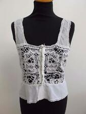 ANTIQUE EDWARDIAN WHITE COTTON & CROCHET LACE CORSET COVER CAMISOLE c1890