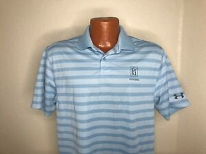 Men's Under Armour S/S Heat Gear Polo Shirt Size Medium (M) BLUE/White STRIPES