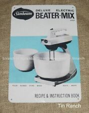 new VINTAGE SUNBEAM MIXMASTER TIN SIGN retro kitchen 60s recipe book KITSCH 50s