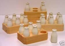 6 Milk Bottles White Enamel Finish and ONE Milk Crate (100 % wood product)!