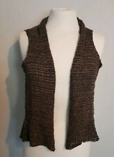 Sarah Pacini womens vest waistcoat One Size brown crop back waterfall