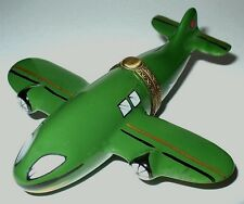 LIMOGES BOX - GREEN JET AIRPLANE - COMMERCIAL AIRCRAFT - FLYING - AVIATION