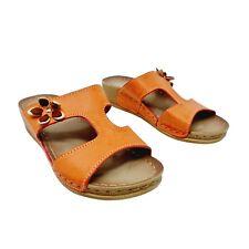 Pavers Orange Low Wedge Slide On Shoes Sandals UK 5 EU 38 Open Toe