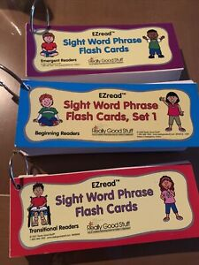 Really Good Stuff EZ Read Sight Word Phrase Flash Cards. 3 packs for levels