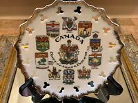 CANADA ONTARIO ALBERTA QUEBEC COAT OF ARMS & EMBLEMS SOUVENIR PLATE VINTAGE
