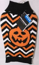 Simply Dog Halloween Pumpkin Striped Pet Sweater Costume Outfit Extra Small