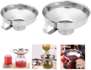 2Pcs Stainless Steel Specialist Funnel Hopper Filter Wide Mouth Canning Kitchen